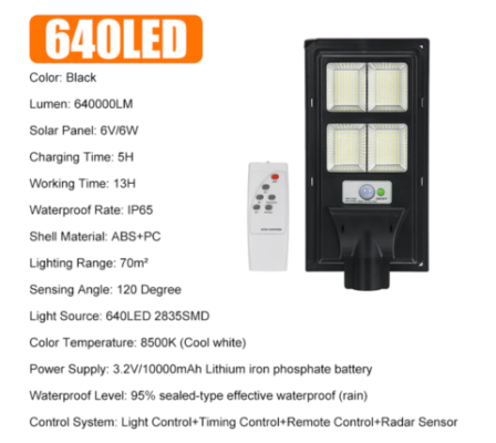 800W- 1000W Solar Street Light LED, High Outdoor Brightness with remote